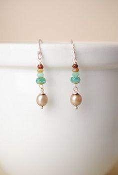 Peru unique handmade artisan gemstone dangle silver earrings for women