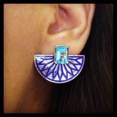 Fan Earring with Blue Topaz  www.aylinbora.com İnstagram eileenbyaylinbora.com