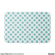 Aqua Polka Dots Bath Mat Available on many products! Hit the 'available on' tab near the product description to see them all! Thanks for looking!  @zazzle #art #polka #dots #shop #home #decor #bathroom #bedroom #bath #bed #duvet #cover #shower #curtain #pillow #case #apartment #decorate #accessory #accessories #fashion #style #women #men #shopping #buy #sale #gift #idea #fun #sweet #cool #neat #modern #chic #blue #aqua #light #dark #white