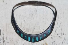 Vintage Mexican Taxco Sterling Silver & Turquoise Inlay Solid Collar Necklace