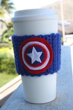 Captain America Inspired Coffee Travel Mug Cup Cozy from Marvel Comics: Eco - Friendly Crochet Knit Sleeve