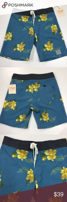 Catch Surf boardshorts A7BRD001 MENS ALL DAY ALOHA BOARDSHORT BLUE/YELLOW Catch Surf Swim