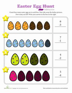 Easter Kindergarten Subtraction Worksheets: Easter Egg Hunt Subtraction