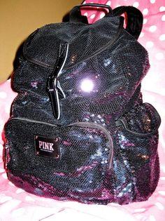 ♥ Victoria Secret Pink Black Bling Sequin Backpack Handbag Tote Duffle Purse Bag   eBay Sequin Backpack, Tote Backpack, Aztec Backpacks, Pink Backpacks, Cute Handbags, Purses And Handbags, Victoria Secrets, Backpacker, Vs Pink