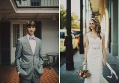 Historic Pharmacy Museum Wedding: Crystal + Will  unique / vintage new orleans wedding / grey suits / bachrach / groom / bride / amy kuschel wedding dress