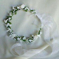Bridal Hairpiece White Wedding Day Rose Flower Crown Veil Alternative Head Wreath floral circlet hair accessory headpiece on Etsy, $53.52 AUD