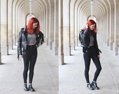 Missguided Fringed Leather Jacket, Missguided Ribbed Zip Up Top, Dr Denim High Waist Skinny Jeans, Dr. Martens 1461 Shoes