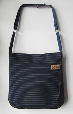 Into The Wind // Dark Navy Blue Pinstripe and by Sourbagsandtotes