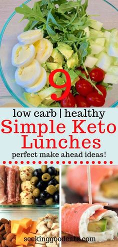 Busy day ahead? Make sure you pack a low carb healthy lunch! Here are 6 quick and easy, make ahead, low carb and keto lunches you can make in no time! These are my go-to ketogenic recipes every day. Finding time to make a healthy meal in the morning while trying to get out the door in the morning is hard, but not with these keto healthy recipes! Check them out! #lunch #healthyrecipes #healthyfood #lowcarb #lchf #keto #ketodiet #ketogenic #ketorecipes #salad #mealprep