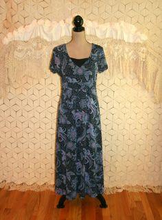 Blue Dress Bohemian Print Maxi Dress High Waist by MagpieandOtis