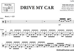 Drive My Car - The Beatles - Drum Sheet Music #thebeatles #drums