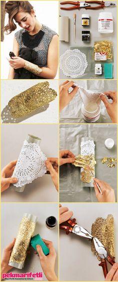 Altın renkli bileklik yapımı | Takı Tasarım | Pek Marifetli!