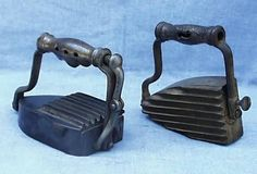 Other revolving antique irons were patented by inventors named Hewitt and Mann, and two of these unusual antique combination fluting / pressing irons are . Antique Tools, Antique Iron, Old Tools, Vintage Iron, Vintage Tools, Lumber Storage, Tool Storage, Old Candy, Vintage Appliances