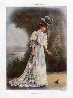The Sum Of All Crafts: image collection-women (in light blue) Vintage Gowns, Mode Vintage, Vintage Ladies, Vintage Outfits, 1900s Fashion, Edwardian Fashion, Vintage Fashion, Belle Epoque, Edwardian Dress