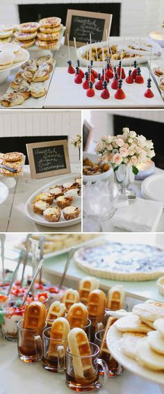 Love the waffle sticks in little glasses. Juliet's party is sure to be a brunch!