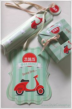 #vespa theme set- invitations and favors with the same design in an attractive color combination of mint and red.