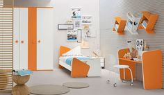 Bedroom Design, Orange And White Teen Bedroom Decorating Ideas Also Unique And Modern Orange White Single Bed Frame Also Adorable Book Shelv...