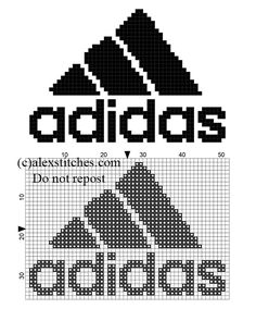 Adidas logo free small cross stitch pattern - free cross stitch patterns by Alex Knitting Charts, Baby Knitting Patterns, Loom Patterns, Cross Stitch Patterns, Plastic Bead Crafts, Marvel Cross Stitch, Small Cross Stitch, All Free Crochet, Crochet Baby