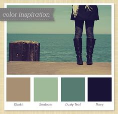 teal, green, beige, and navy