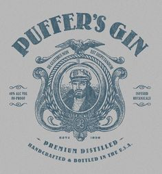 Wonderful logo. Puffer's Gin  by Alex Rinker