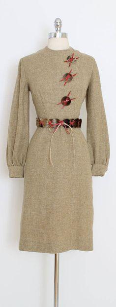 ➳ vintage 1950s dress * fabulous 50s wool dress! * amazing fur and leather details * belt * acetate lined skirt * metal back zipper condition | excellent fits like medium length 41 bodice 16 bust 38 shoulders 16 sleeves 24 waist 27-28 hips 40 ➳ shop http://www.etsy.com/shop/millstreetvintage?ref=si_shop ➳ shop policies http://www.etsy.com/shop/millstreetvintage/policy twitter | MillStVintage facebook | millstreetvintage instagram | millst...
