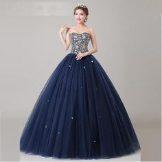 Navy blue Crystals Quinceanera Dresses Ball gown Backless Lace up Floor length Beading Fashion Plus size Girls Prom gowns