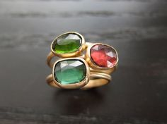 Green Tourmaline Ring in Recycled 14k Gold Rose by erinjanedesigns, $408.00