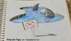 Drawing 3D Sharks on my Notebook! - 3D Anamorphic Drawing (Time Lapse)  Watch…