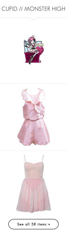 """CUPID // MONSTER HIGH"" by girlwithagun ❤ liked on Polyvore featuring monster high, filler, pink, dresses, vestidos, light pink, light pink chiffon dress, pink chiffon dress, high-low dresses and pink chevron dress"