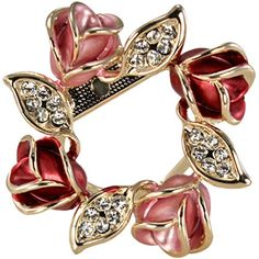This adorable rose ring is constructed with a wreath of cute rose buds decorated with authentic Austrian crystals. This brooch measures 1.6 inches long by 1.6 inches wide and weighs 20 grams. The brooch has a heart-shaped snap clasp with a back pin on the side. This cute brooch will add a sparkling flair to your jacket lapel or scarf.