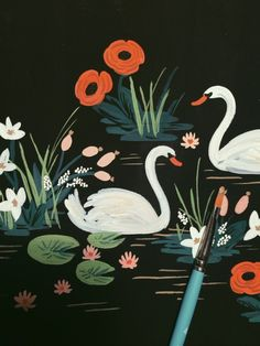 OBSESSED with the @Anna Totten Totten Totten Bond swan painting... Rifle Paper