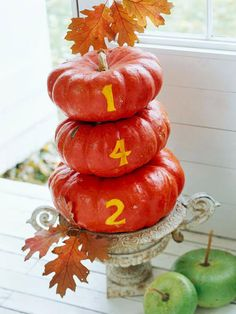 Halloween house numbers carved on pumpkins