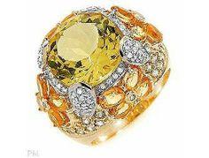 Brilliant Citrine, Yellow Sapphire & Diamond Engagement Ring