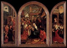 CORNELISZ VAN OOSTSANEN, Jacob (b. ca. 1472, Oostzan, d. 1533, Amsterdam)   Click!	 Triptych of the Adoration of the Magi  1517 Oil on panel, 83 x 56 cm (central section), 83 x 25 (wings) Rijksmuseum, Amsterdam  Viewers of Jacob Cornelisz van Oostsanen's Adoration of the Magi in the Rijksmuseum are both missing and gaining something compared to the faithful of Van Oostsanen's day. In its original position in the church,