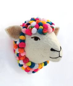 Colourful pom pom felt sheep head.
