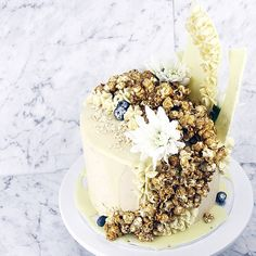 """""""Happy birthday @mariaaamaria! You are one lucky girl! The brief was a 'statement' cake + nothing too sweet. A #vanillabean layered cake drenched in…"""""""