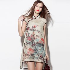 Lovely+Blossom+Flowers+Silk+Chiffon+Qipao+Cheongsam+Dress+-+Qipao+Cheongsam+&+Dresses+-+Women