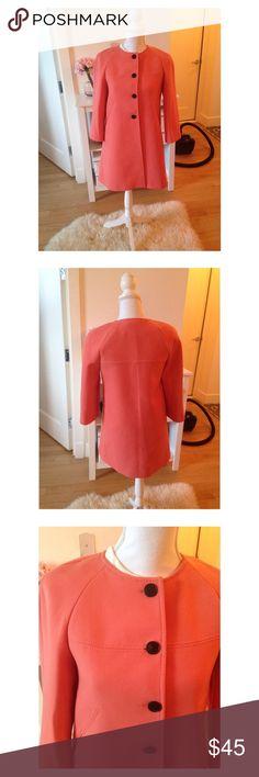 Zara spring coat Zara cotton-like coat in coral color. Great condition, carefully worn for a season. Feminine round shoulders. Zara Jackets & Coats
