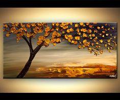 """Original 48 """"x 24"""" abstracto moderno azul amarillo florece árbol pintura pesada espátula Extra textura gruesa por Osnat - confeccionar"""