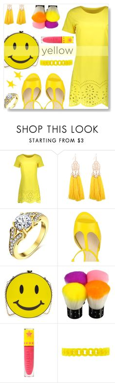 """Yellow Dress"" by simona-altobelli ❤ liked on Polyvore featuring Natasha, Jeffree Star, Forever 21, Alexis Bittar, yellow, MyStyle, sunny and yellowdress"