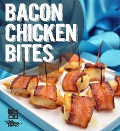 Bacon Chicken Bites quick and easy recipe for parties and potlucks Bacon Chicken Bites - omit mustard Bacon Wrapped Chicken Bites, Chicken Bacon, Chicken Recipes, Chicken Meals, Paleo Recipes, Whole Food Recipes, Cooking Recipes, Easy Recipes, Bacon Recipes