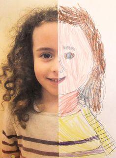 Et halvt selvportræt. Tag et billede af eleverne. Billedet printes ud i a3 størrelse og halveres på langs. Monter det halve billede på et stykke tegnekardus, og lad eleverne tegne og farve den manglende halvdel. Lægger op til en samtale om symmetri og ansigtets opbygning.