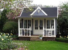 this wye clockhouse style summer house has been painted. Black Bedroom Furniture Sets. Home Design Ideas