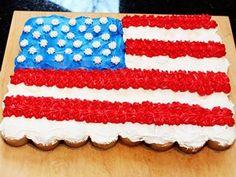 Fourth of July Flag Cake (use Betty Crocker Gluten Free cake mix)