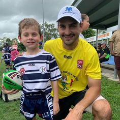 Check out this awesome family photo of son Flint and father Gian representing Brothers Rugby League Townsville, at their first junior footy game of the season! Team Photos, Family Photos, Footy Games, Team Wear, Rugby League, Team Player, Communication Skills, Father And Son, Champs