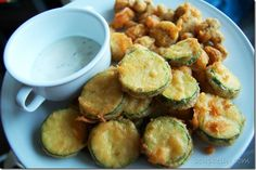 beer battered zucchini and mushrooms