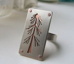Lone Pine Tree sterling silver and copper riveted ring