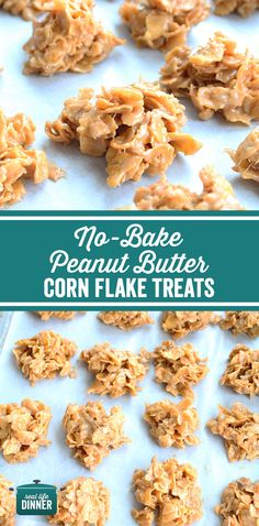 No-bake Peanut Butter Corn Flake Treats – Real Life Dinner – kids baking ideas Corn Flakes Peanut Butter, Peanut Butter No Bake, Peanut Butter Recipes, Peanut Butter Crispy Treats, Cereal Treats, No Bake Treats, Baking Recipes, Cookie Recipes, Dessert Recipes