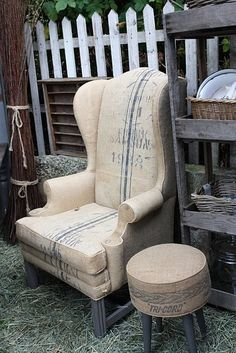 Love this chair and ottoman covered in burlap coffee sacks. by scout bug