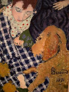 Bonnard's woman in a blue-checked dress with dog